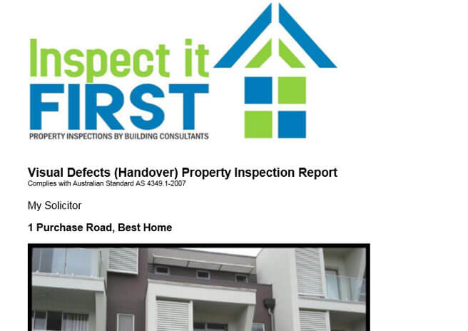 Inspect It First - Visual Defects Handover Property Inspection Report PDF Image